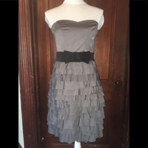 H&M ruffle strapless side zip occasion dress